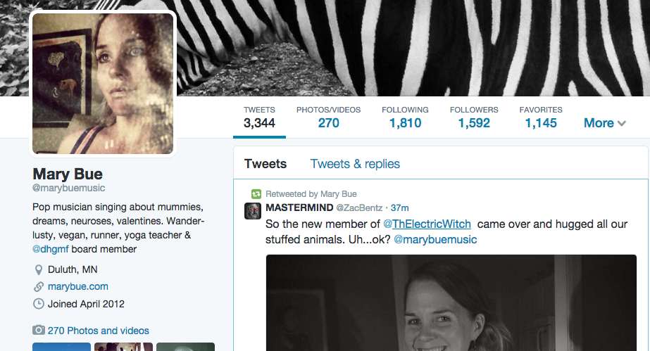 Before photo of my Twitter Profile prior to Week 1 of Madalyn Sklar's #TwitterSmarter course