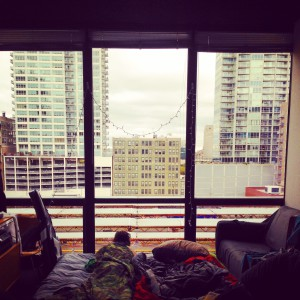 We woke up with a quiet view of downtown Chicago