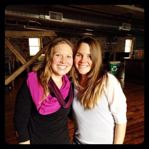 Allison of Bird on A Perch - Pilates for Real People and me at Ore Dock Brewery after our pop-up yoga + pilates class