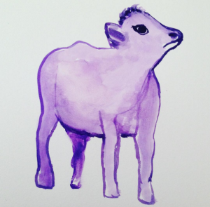 """Little Purple"" watercolor by Mary Bue"