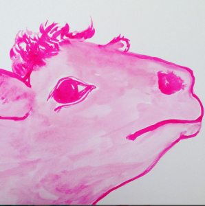 """Pinky"" watercolor by Mary Bue"