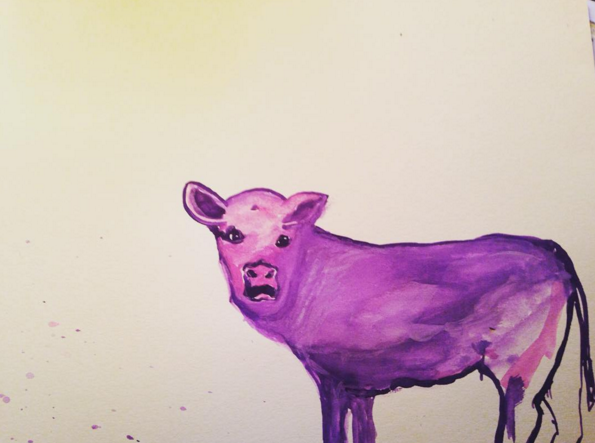 Little Purple 2   Original Watercolor by Mary Bue  8.5 x 11  Framed & matted to approx 10 x 13