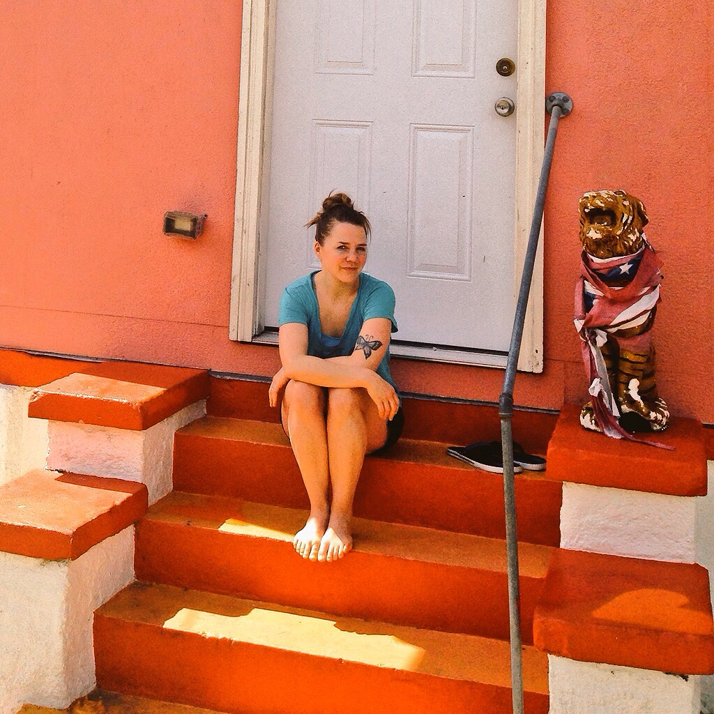 On Jeaux's stoop in New Orleans